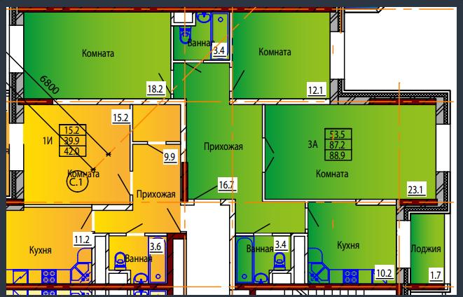 Планировка Трёхкомнатная квартира площадью 88.9 кв.м в ЖК «Дом на Тургенева 13»