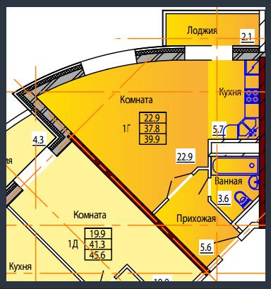 Планировка Студия площадью 39.9 кв.м в ЖК «Дом на Тургенева 13»