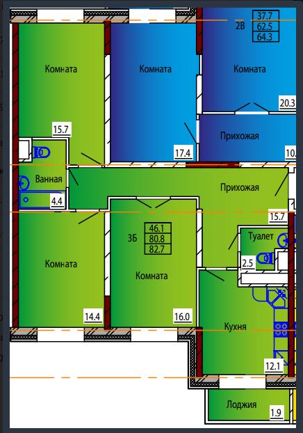 Планировка Трёхкомнатная квартира площадью 82.7 кв.м в ЖК «Дом на Тургенева 13»
