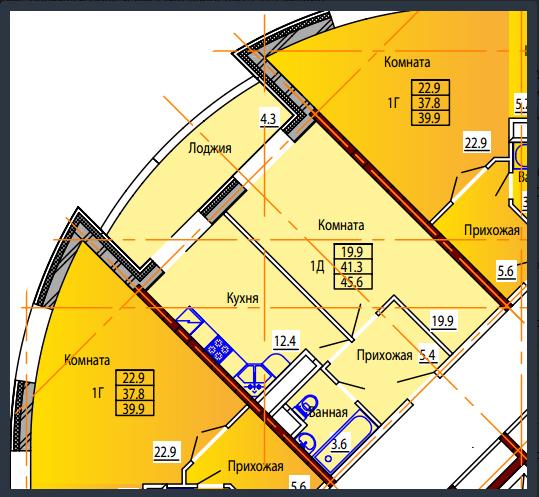 Планировка Однокомнатная квартира площадью 45.6 кв.м в ЖК «Дом на Тургенева 13»