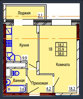 Планировка Однокомнатная квартира площадью 38 кв.м в ЖК «Дом на Тургенева 13»